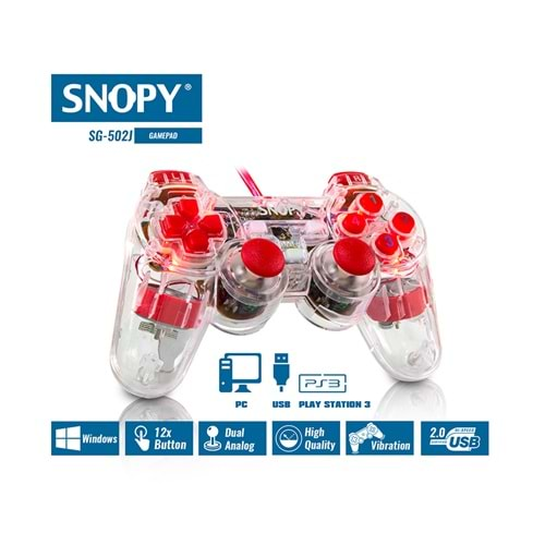 Snopy SG-502J USB/PS2/PS3 Double Shock Şeffaf Joypad